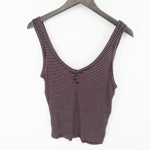 American Eagle Soft Sexy Rib Maroon Striped Tank M